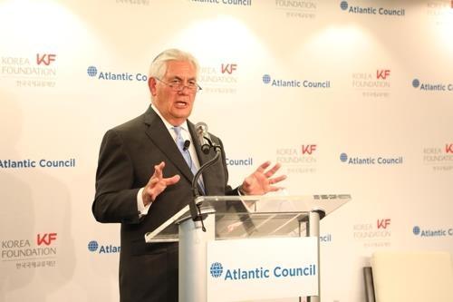 资料图片:美国国务卿蒂勒森(韩联社/国际交流财团提供)