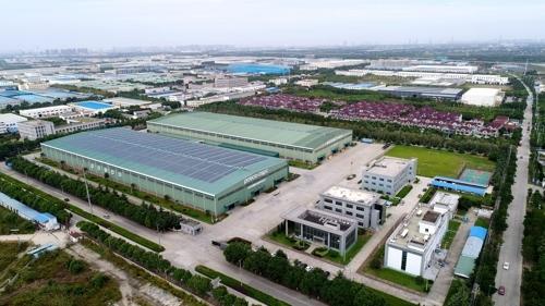 资料图片:浦项(苏州)汽车配件制造有限公司鸟瞰图(韩联社/POSCO提供)
