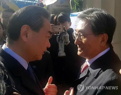 图为中国外交部长王毅(左)同韩国驻华大使卢英敏交谈(韩联社)