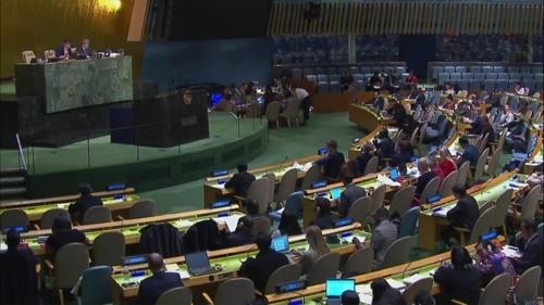 当地时间12月19日,在联合国总部,联合国大会通过了朝鲜人权决议案。(韩联社/联合国网络电视截图)