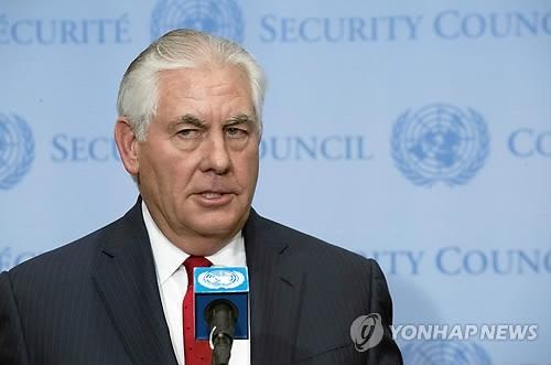 资料图片:当地时间12月15日,美国国务卿雷克斯·蒂勒森在纽约联合国总部就不扩散和朝鲜问题召开的联合国安理会部长级会议上发言。(韩联社/美联社)