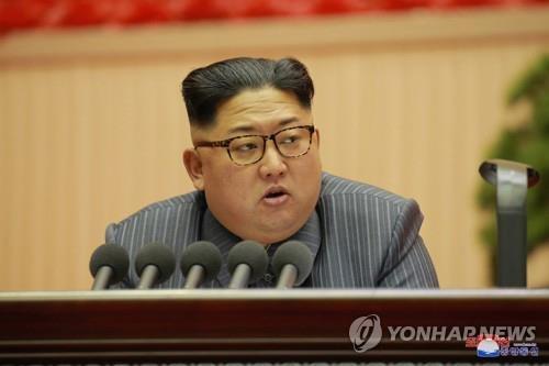 资料图片:图为朝鲜劳动党委员长金正恩。图片仅限韩国国内使用,严禁转载复制。(韩联社/朝中社)