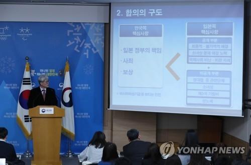 12月27日,在首尔,韩国外交部慰安妇协议审查专案组发布审查结果。(韩联社)