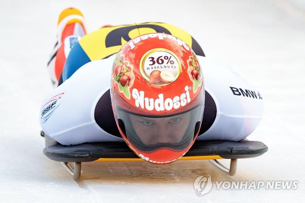 资料图片:钢架雪车运动员尹诚彬(韩联社/法新社)