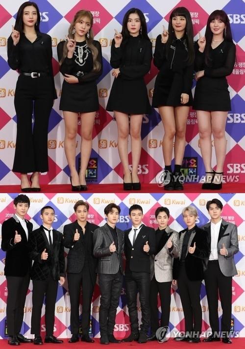 资料图片:上图为女团Red Velvet,下图为男团EXO。(韩联社)
