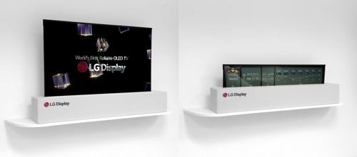 图为将在2018年CES国际消费电子展上亮相的LG Display65英寸超高清(UHD)卷轴式显示器。(韩联社/LGD提供)