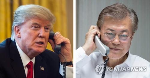 资料图片:美国总统特朗普(左)和韩国总统文在寅(韩联社)