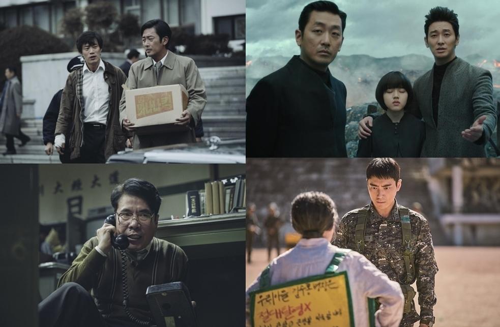 左图为《1987》剧照,右图为《与神同行》剧照(韩联社/各电影发行商提供)