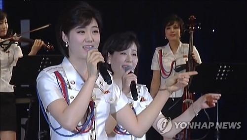 资料图片:朝鲜牡丹峰乐团表演现场(韩联社)