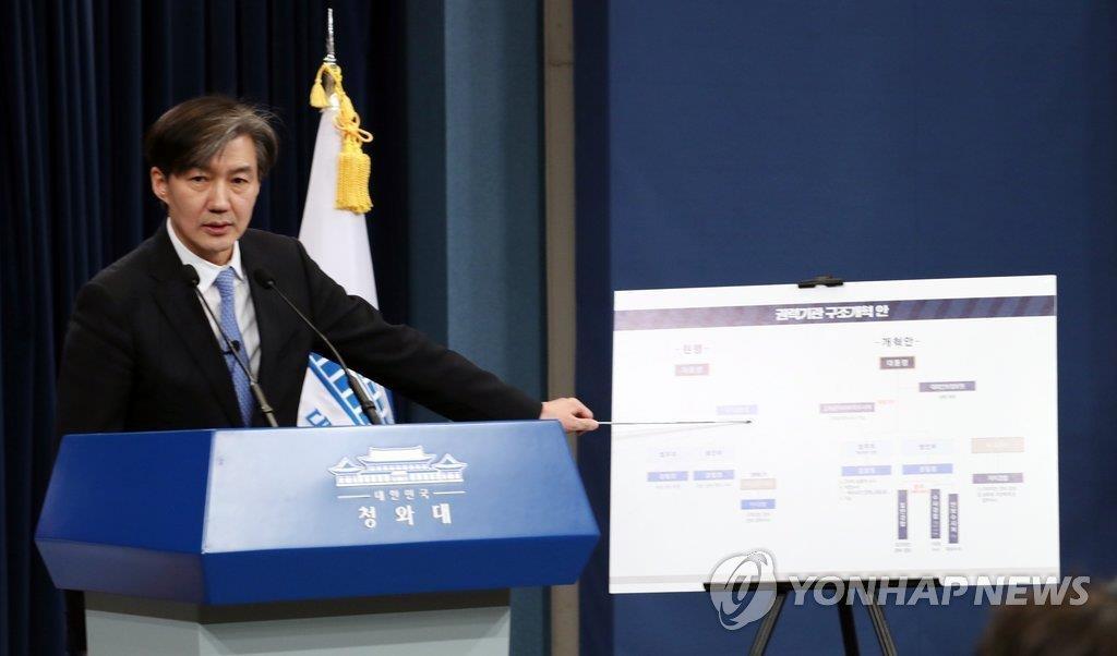 1月14日,在青瓦台,首席民政秘书官曹国发表权力机构改革方案。 (韩联社)