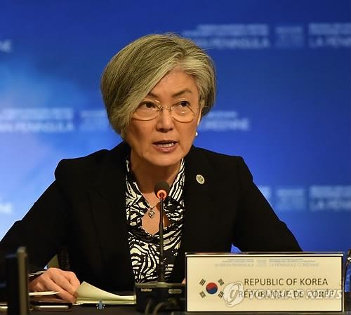 """当地时间1月16日,在加拿大温哥华,韩国外长康京和出席""""温哥华朝核问题外长会议""""并发言。(韩联社)"""