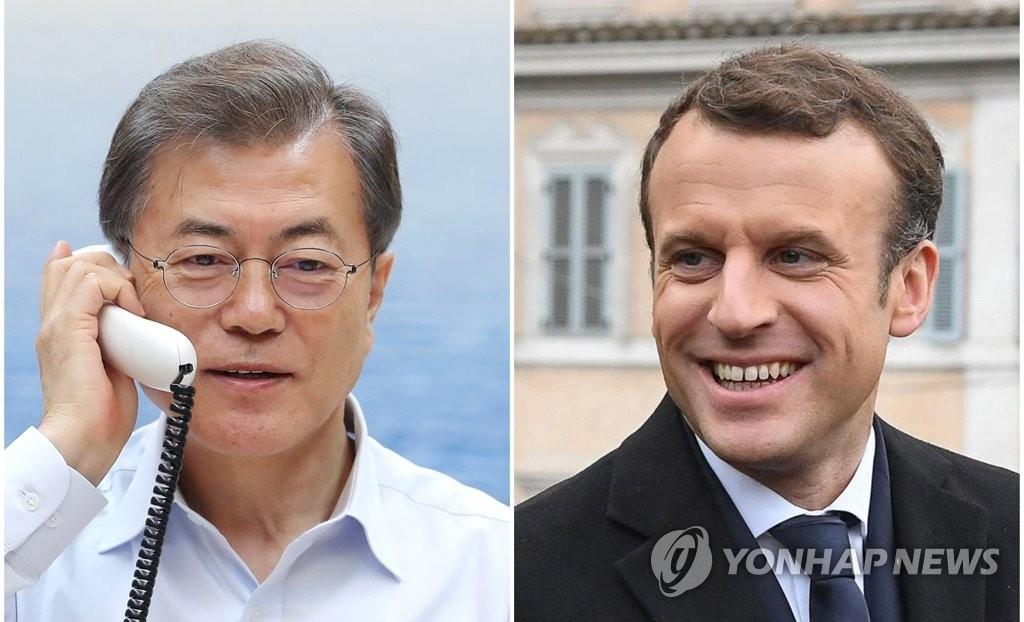 1月18日,总统文在寅(左)18日晚7时20分许同法国总统马克龙通电话。(韩联社、欧新社)
