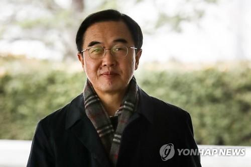 资料图片:统一部长官赵明均 (韩联社)