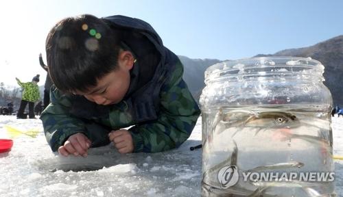 1月27日,江原道麟蹄郡,小朋友正在体验钓冰鱼活动。(韩联社)