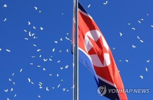 2月1日,在平昌运动员村,朝鲜国旗迎风飘扬。(韩联社)
