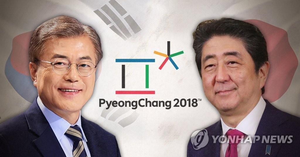 文在寅(左)和日本首相安倍晋三 (韩联社)