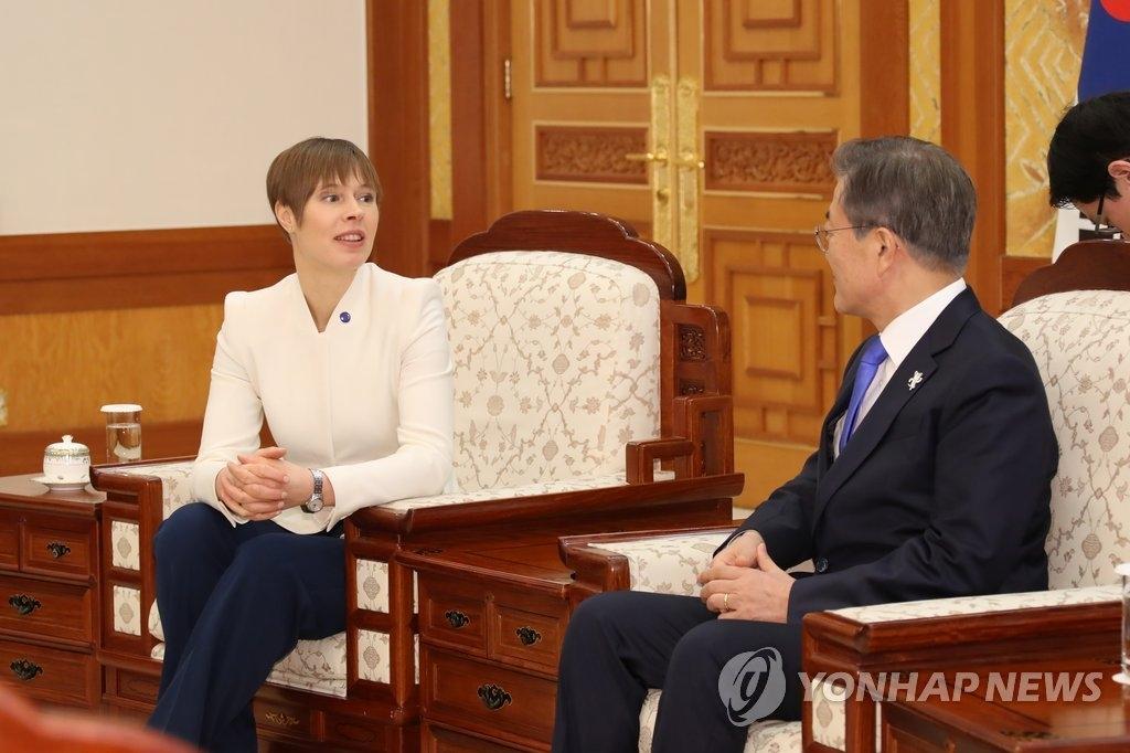2月6日下午,在青瓦台,文在寅(右)同爱沙尼亚总统柯斯迪·卡留莱德举行首脑会谈。(韩联社)