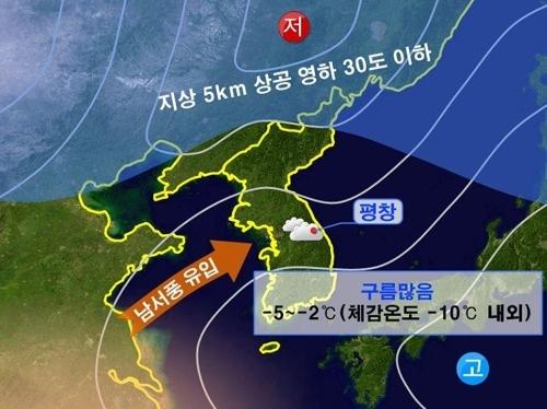 2018平昌冬奥会开幕式当天(2月9日)的天气预报(韩联社/韩国气象厅提供)