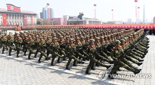 资料图片:朝鲜阅兵式