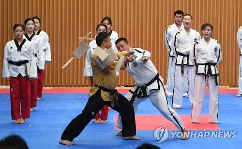 2月12日下午2点,在首尔市政府多功能厅,韩朝跆拳道示范团表演精彩节目。(韩联社/联合采访团提供)