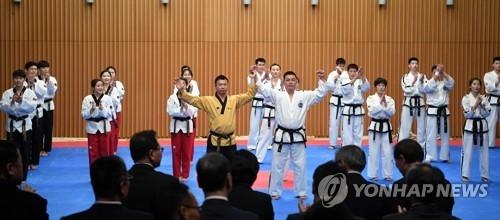 2月12日下午2点,在首尔市政府多功能厅,韩朝跆拳道示范团联演中携手问候观众。(韩联社/联合采访团提供)