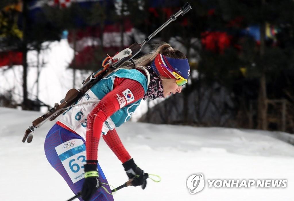 比赛中的韩籍俄裔选手埃克特里纳·阿瓦克莫娃(韩联社)