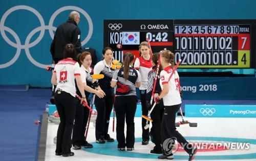 比赛结束后,瑞士队向韩国队表示祝贺。(韩联社)