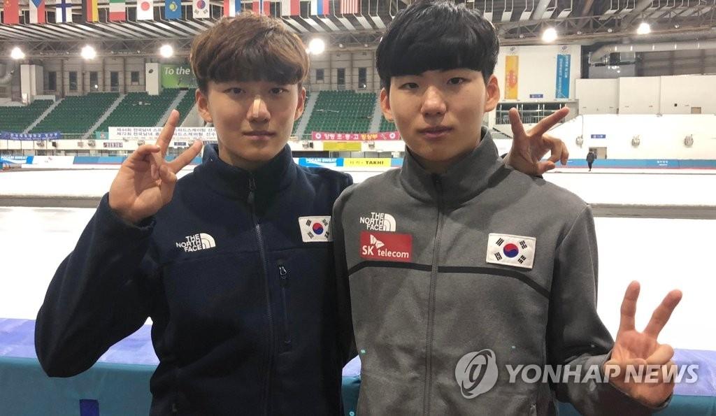资料图片:韩国速滑选手郑在雄(左)和弟弟郑在源(韩联社)
