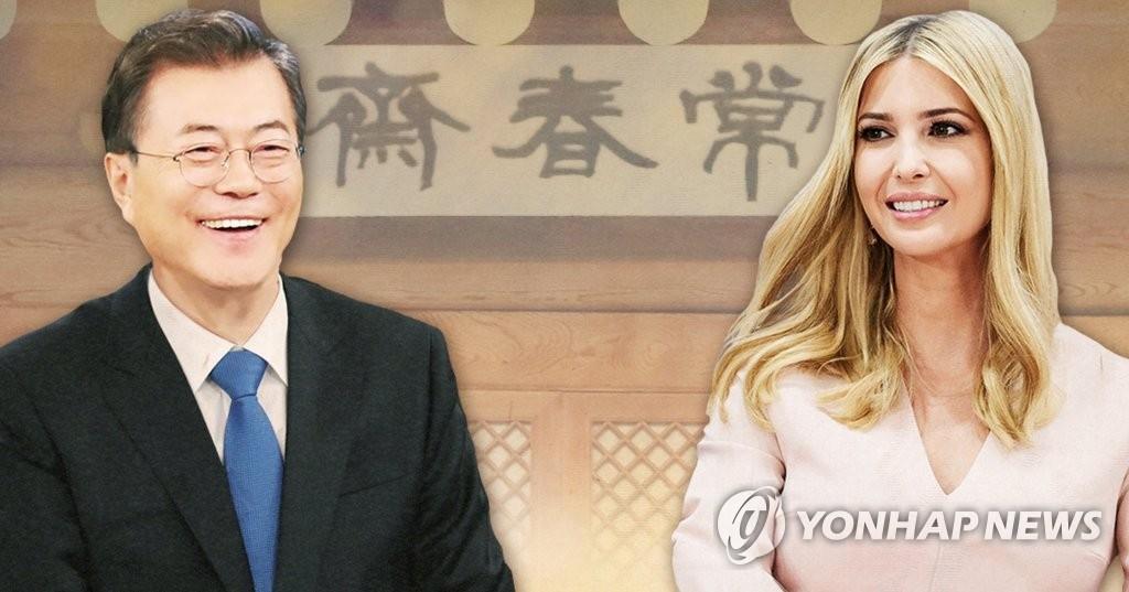 文在寅(左)和美国总统特朗普之女、白宫高级顾问伊万卡 (韩联社)