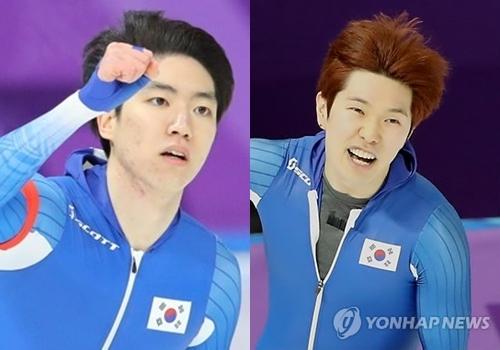 资料图片:韩国速滑选手车旼奎(左)和金太润(韩联社)