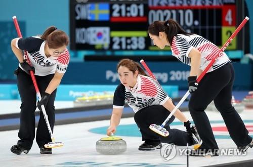 韩国女冰壶队在比赛中。(韩联社)