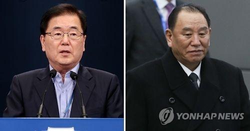 韩国总统府国家安全室长郑义溶和朝鲜中央统战部长金英哲(韩联社)