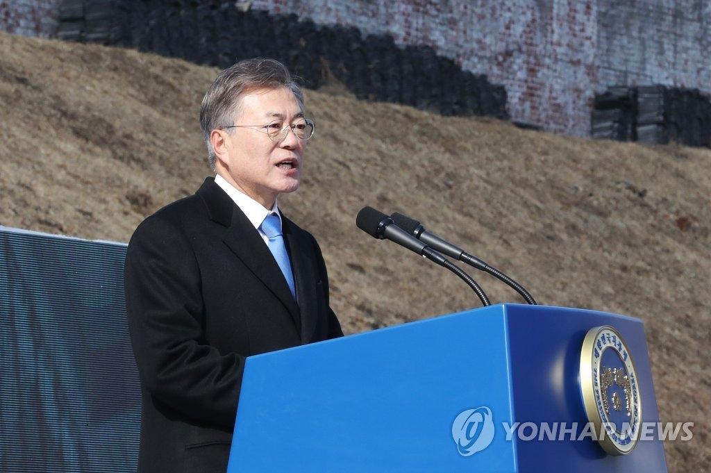 """3月1日,在首尔西大门刑务所历史馆,韩国总统文在寅出席""""纪念三一运动99周年仪式""""并发表讲话。(韩联社)"""