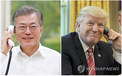 资料图片:文在寅(左)和特朗普(韩联社/欧新社)