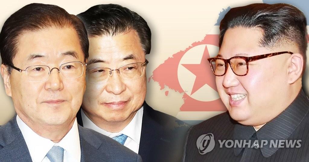 资料图片:左起依次是郑义溶、徐熏和金正恩。(韩联社)