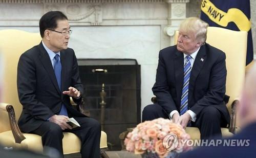 资料图片:当地时间3月8日,在白宫,韩国青瓦台国家安保室长郑义溶(左)向特朗普转达金正恩的口信。(韩联社)