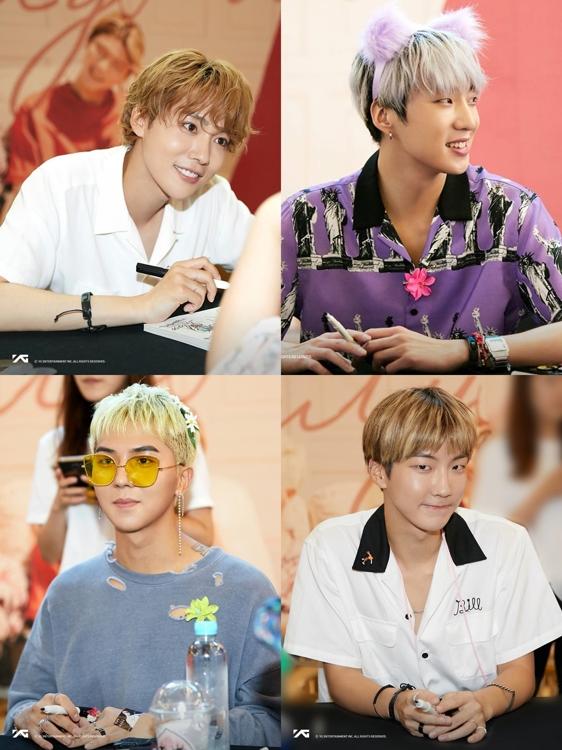 男团WINNER。上图左一起为成员金秦禹、姜昇润、宋旻浩、李昇勋。(官网脸谱)