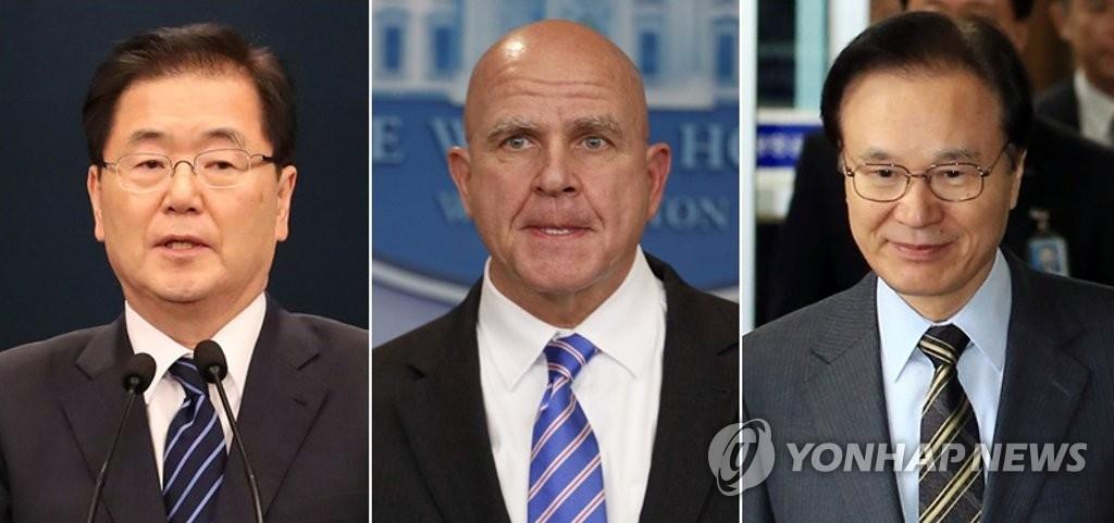 资料图片:左起依次是郑义溶、麦克马斯特、谷内正太郎。(韩联社/美联社)