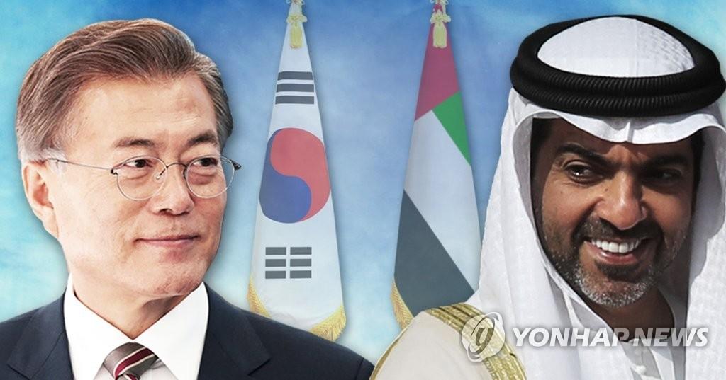 应阿布扎比王储穆罕默德本·扎耶德·阿勒纳哈扬的邀请,文在寅(左)将对阿联酋进行正式访问。(韩联社)