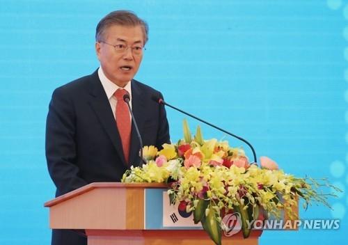 3月22日,在越南河内,韩国总统文在寅在韩国-越南科学技术研究院开工仪式上讲话。(韩联社)