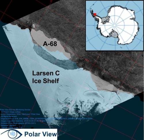 拉森C冰架和A-68冰山的卫星图片(韩联社/极地研究所提供)