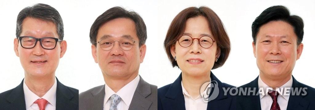 左起依次为韩联社社长赵成富、副社长李炳鲁、负责国际与业务管理事务的常务理事金镇亨、负责经营战略事务的常务理事李基昌。(韩联社)