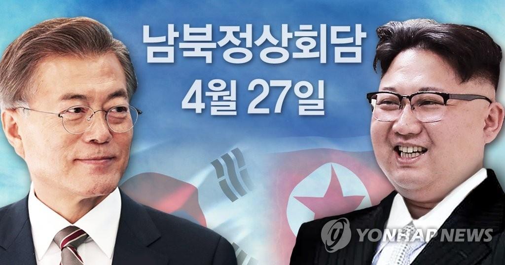 资料图片:左为文在寅,右为金正恩。(韩联社)