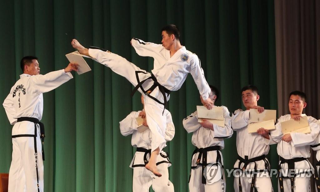 3月2日,在平壤大剧场,朝鲜跆拳道示范团正在表演。(韩联社)