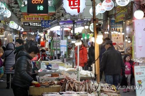资料图片:韩国街市(韩联社)