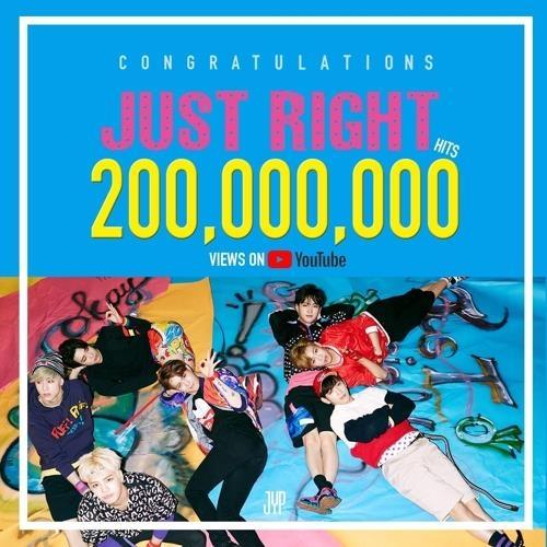 《Just Right》播放量破2亿的YouTube截图(JYP娱乐提供)