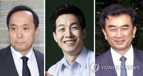 资料图片:左起依次是金相均、尹建勇和金昌善。(韩联社)
