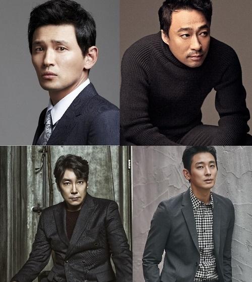 上图左为演员黄政民,右为李圣旻,下图左为赵震雄,右为朱智勋。(韩联社/CJ娱乐提供)