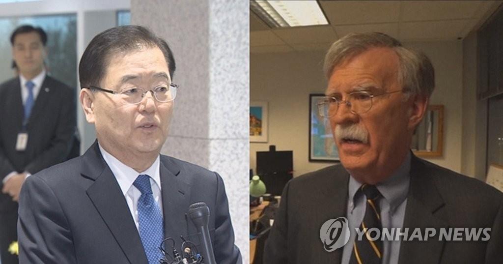 资料图片:韩国青瓦台国家安保室室长郑义溶(左)和美国新任国家安全顾问约翰·博尔顿(韩联社/韩联社电视提供)