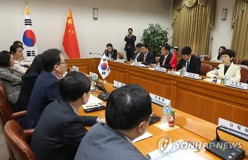 资料图片:图为韩中经贸联委会第21次会议照。(韩联社)